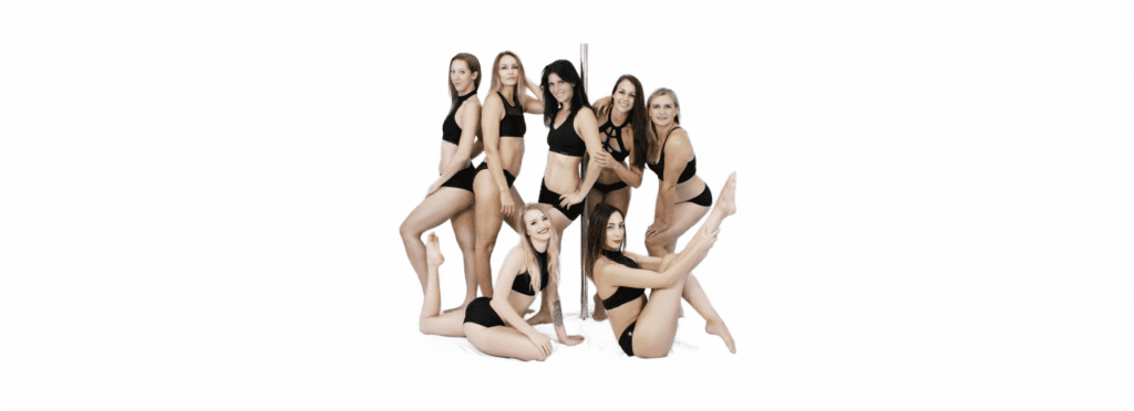 Teil des Polearts Poledance-Trainer Teams um eine Pole